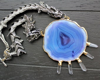 Dragon Necklace Dragon Jewelry Agate Slice Necklace Agate Jewelry Game Of Thrones Geode Necklace Geode Jewelry Statement Necklace Quartz