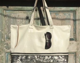 Handmade White Italian Leather Weekender Bag, Work Bag, Diaper Bag,  with vintage Sari and Black Leather highlights