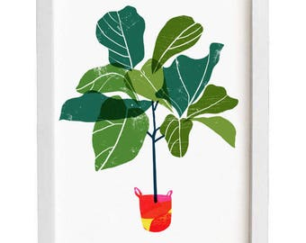 Fiddle Leaf Fig Tree - Tropical leaf print / high quality fine art print