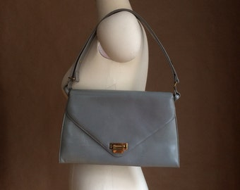 vintage 1950's mod gray leather handbag / purse / Meeker /  Made in the U S A