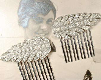 OOAK Antique Art Deco Rhinestone Bridal Hair Comb Pair, 1920 Silver French Paste Leaf Hairpiece Vintage Wedding Dress Clip