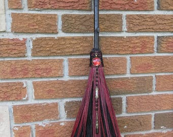 Full Moon, Witch's Altar Broom in Red and Black, Protection, Besom Broom, Witchcraft, Wicca, Wiccan Altar, Magick, Witch Broom, Blood Moon,
