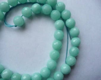 Aquamarine, Light Green, Gemstone, 8mm, Faceted, Round, Jewelry Making Beads, Package Of 10