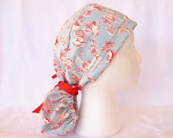 PonyTail Scrub Hat - Pony Tail Surgical Cap, Red and White on Light Blue, Red Ribbon Tie