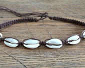 Hemp Necklace with Cowrie Shells Brown Colors