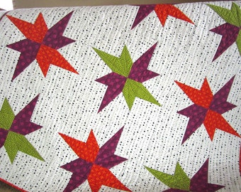 Homemade Quilt, Patchwork Quilt, Handmade Quilt, Lap Quilt, Modern Quilt, Star Quilt, Home Decor, Sofa Quilt, Quilted Throw
