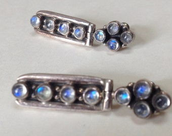 Blue Flash Moonstone Hinged 925 Sterling Dangle Post Earrings – 1980s Jewelry