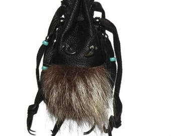 SALE Raccoon fur claws and leather medicine bag totem