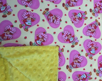 "Baby Blanket - Strawberry Shortcake on Yellow Flannel with Bright Yellow Minky, 29"" X 35"""