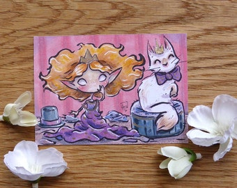 PRINT ACEO - Dress up with friend