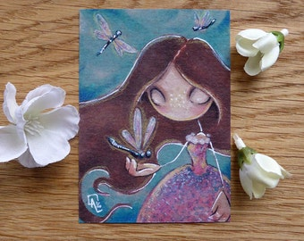 PRINT ACEO - Three dragonflies