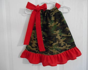 Girls camo pillowcase dress with ruffle infant thru 7/8 years green camo with choice of tie and ruffle