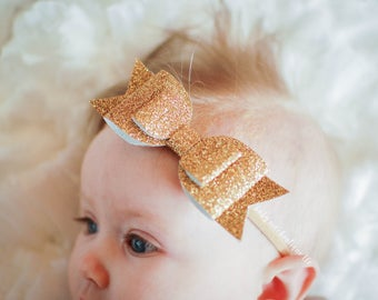 Baby Girl Gold Glitter Nylon Bow; Barefoot Sandals; Headband; Gold Bow Sandals; Faux Leather glitter Headband; Infant sandals