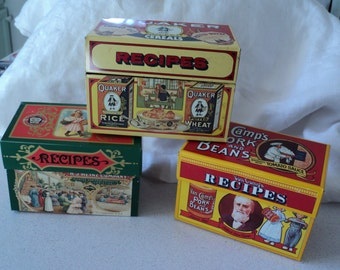 Vintage Quaker  Cereal, Van Camp's Pork and Beans, Heinz Company Metal Recipe Box for the Vintage Kitchen