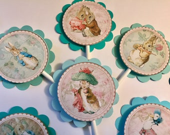 30 Dimensional Beatrix Potter Peter Rabbit Cupcake Toppers *Ready to Ship*