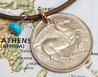 Greece, Vintage Coin Necklace --- Flight of Fancy --- Pegasus - Phoenix Bird - Greek Mythology - Horse - Travel Gifts - World Treasures