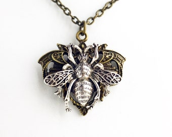 Two Tone Bee Necklace / Pick your Length / Beekeeper Gift Steampunk Lover Pendant Costume Cosplay Gothic Wedding Bridesmaids Bridal Party