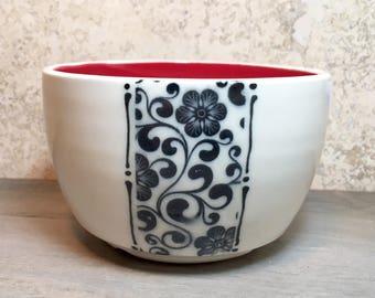 Floral Bowl - Porcelain Bowl with Flowers - Black and White Bowl - Handmade Ceramic Bowl - Porcelain Bowl - Cereal Bowl - Soup Bowl - Red