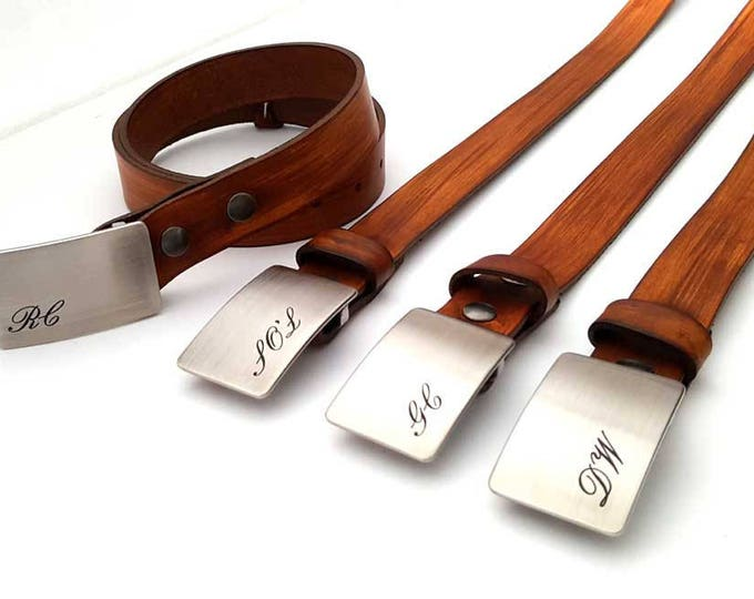 Engagement Gift Groom ~ Groomsmen Monogrammed Buckle & Belt Personalized Customized Etched w/Custom Leather Snap Belt for Bridal Party Gift