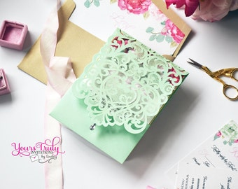 Sample - Custom Mint Laser Invitation for Wedding, Mitzvah or Party - shown in Mint, gold glitter, blush and pink or your colors with liner