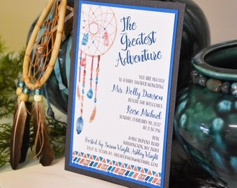 Gender Neutral Tribal themed baby shower or bridal shower invitation with Dream catcher and arrows shown in coral, brown and aqua
