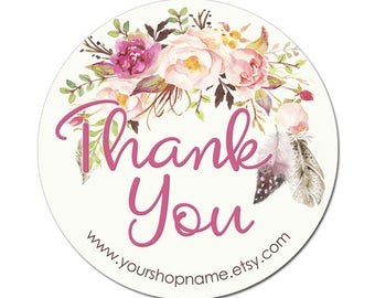 Thank You Labels with Pink Flower Bouquet with Feathers - 100 GLOSSY Round Product Label Stickers