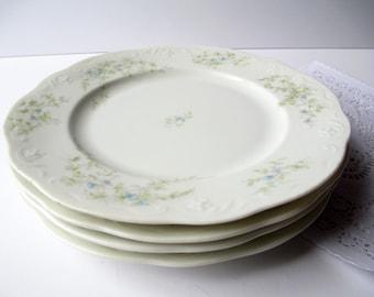 Vintage Salad Plates Blue Green Floral Syracuse Set of Four