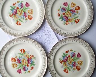 Vintage Luncheon Plates Floral Petit Point Knowles Set of Four