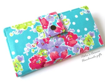 Handmade women's wallet clutch - Bright flowers on teal background with white dots - custom order - purse - Gift for her  - ID clear pocket