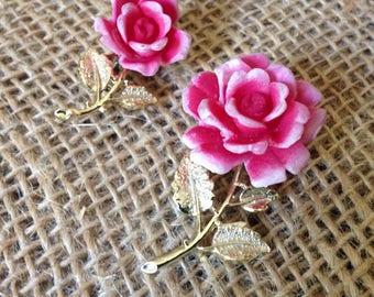 Pink Rose Pin Set of Two