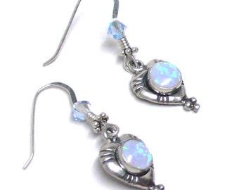 Blue lab opal sterling silver heart earrings