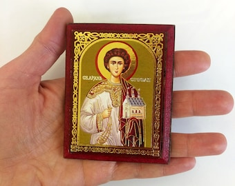 St. Stephen, Saint Stephan, mini icon print on wood, keepsake icon, 7x9cm