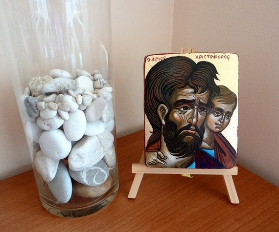 Saint Christopher icon, Small Handpainted original painting on wood, 5 x 4 inches