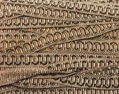 Vintage Two-Tone Brown Scroll Gimp 3 yards - Vintage Scroll Gimp Yardage C19