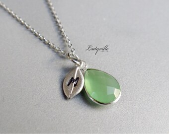 Personalized Necklace Green Chalcedony, 925 Sterling Silver Initial necklace