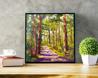 Landscape Painting Commission, woodland painting, enchanted forest, landscape Impressionist Knife oil painting, made to order, Tree painting