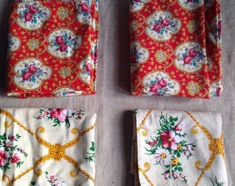 Vintage French Fabrics Remnants/ Red & Yellow Textiles Floral Cotton Panels,  2pc fabric remnants- furnishing projects