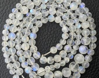 6-8mm,Full 15 Inch Strand,Blue flashy Rainbow moonstone Smooth Balls Beads, Great Price Rare Item