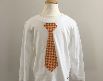Toddler Shirt- Long Sleeve, Tie in Orange Houndstooth in White, Little Man, Ready to Ship