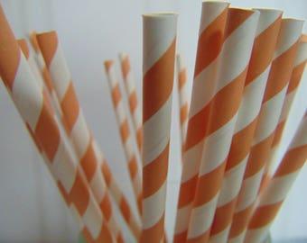 Paper Straws, Party Straws, Pumpkin color Striped Straws, Pumpkin stripe party straws, Fun Straws