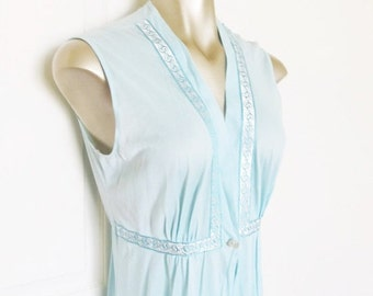 40% OFF SALE Vintage 1970's Full Length Nightgown Robe / Pastel Blue Lingerie Robe Size Medium