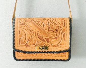 Vintage 1970's Hand Tooled Leather Purse / Country Western Thick Leather Crossbody Shoulder Bag Made in Mexico