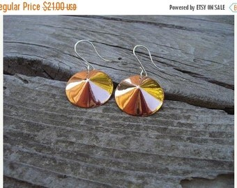 ON SALE Copper earrings with sterling silver wires
