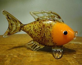 "Vintage Murano Italian Art Glass Hand Blown Fish Sculpture Figurine Large 9"""