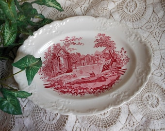 Pink Red Transferware Platter English Abbey Vintage at Quilted Nest