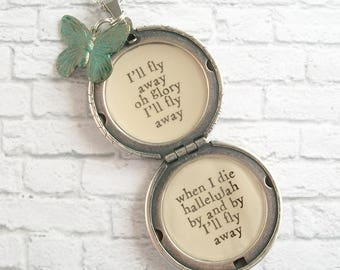 I'll Fly Away Hymn Quote Locket Necklace Inspirational Music Victorian Butterfly Pendant Vintage Inspired Christian Jewelry