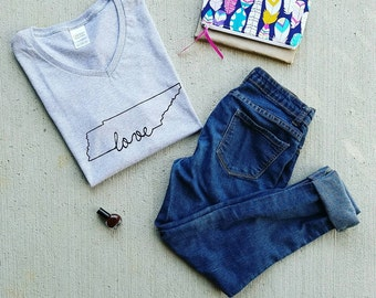 Love {Tennessee} V Neck by BB&CP -- Screenprint Tee