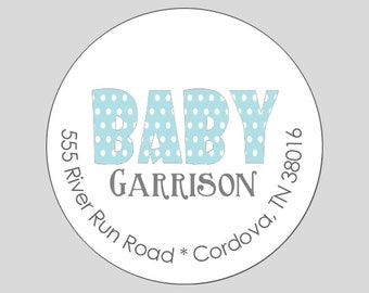 20 Personalized Baby Boy Polka Dot Address Labels //  Gift Tags // Stickers // Party Favor Labels