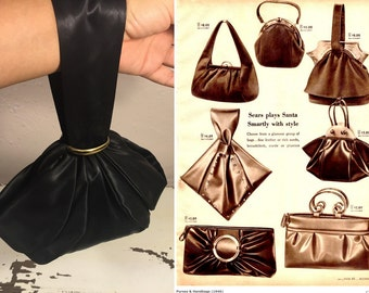 I Carry It All In a Pouch - Vintage 1940s Spot Lite L & M Black Rayon Satin Wrist Pouch Handbag