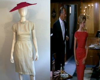 Lets Make It Legal - Vintage 1950s Emma Domb Lightest Lemony Cream Lace Wiggle Dress - 4/6